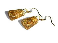 Gold flake earrings resin jewelry gold leaf earring by Regalities