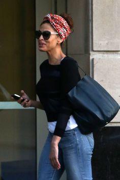 Eva Mendes wearing head scarf