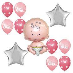Baby Shower Christening Supplies It's a Girl Foil Balloon Pink Dots Star bouquet #Anagram #BabyShower
