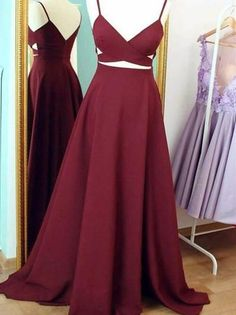 A-line Spaghetti Strap Sweep Train  Satin Simple  Prom Dresses ASD2502 #promdress #simple #burgundy #vintage #long