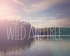 All good things are wild and free, Inspirational Typographic Print, Thoreau Walden Pond, Nature Photography, Purple Pink Sunset Typography on Etsy, $25.00