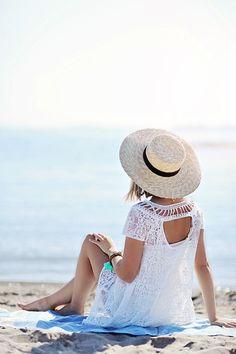 freepeople: Shop this look Blue Beach, Beach Day, Beach Relax, Beach House Colors, White Sundress, Summer Of Love, Summer Blues, Summer Sky, Summer Colors