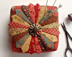 """Dreamy Dresden Pincushion - Filled with Crushed Walnut Shells - Jo Morton """"Gratitude"""" Fabrics- Includes Pearl Pins from Curry Bungalow"""