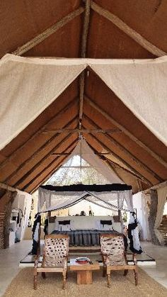 Kiba Point Safari Lodge - Selous Game Reserve, Tanzania - here is my dream list and where i visited already . Glam Camping, Luxury Camping, Glamping, Tanzania, Outdoor Beds, Safari Decorations, Game Lodge, British Colonial Style, Lodge Decor