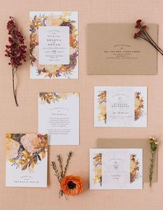 Inspire your fall wedding florals and decor with a fall floral themed wedding invitation suite from Minted. #weddinginvitation