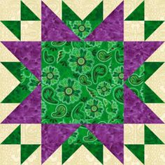 "Free Quilt Block Patterns, M through S: 16"" Oddfellows Chain Quilt Block Pattern"