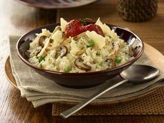 Mushroom risotto is one of the most delicious variations on the traditional risotto recipe. This mushroom risotto recipe is prepared by adding hot stock to arborio rice and . Risotto Recipe For Beginners, Recipes For Beginners, Asparagus Risotto Recipe, Risotto Recipes, How To Make Risotto, Mushroom Stock, Cooking Recipes, Healthy Recipes, Rice Recipes