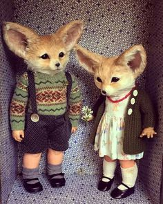 The Fennec Twins animal child art dolls by Annie Montgomerie (please follow minkshmink on pinterest)