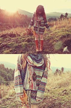 tall brown boots + thick sweaters + lots of scarves