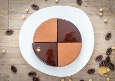 Entremets mousse au chocolat Guanaja, crémeux Guanaja et fève tonka, croustillant praliné et dacquoise à la noisette.