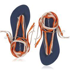 Oranje slipper met verwisselbare banden.