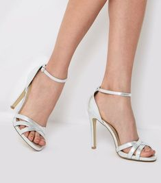 Silver Ankle Strap Heeled Sandals | New Look