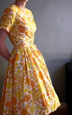for spring #yellow #flowers #pattern #dress