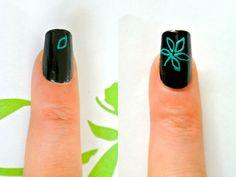 Green Palm Leaf nail art tutorial
