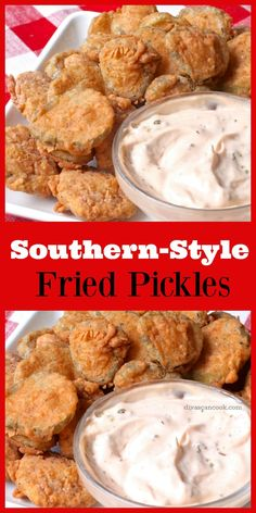 *Tried and True* Southern Fried Pickles! Crispy, golden and seasoned to perfection! Served with and easy sweet and tangy dipping sauce. Air Fryer Recipes Vegetables, Air Fryer Recipes Easy, Vegetable Recipes, Veggies, Fried Dill Pickles, Fried Pickles Recipe, Finger Food Appetizers, Yummy Appetizers, Appetizer Recipes