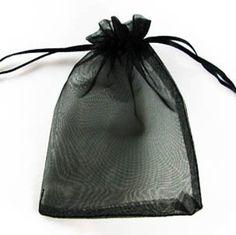 """300Pcs Solid Dark Black Drawstring Organza Flare Wedding Gift Pouch Bag 4.5x3.5"""""""