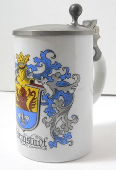 "German beer stein Darmstadt pewter lid 6½"" Stempel-Schulz white blue yellow"