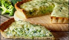Pie dough : 0000 250 g flour 1 pinch salt 125 g butter 40 ml ice water Filling: 2 or 3 tablespoons oil 1 onion Broccoli Quiche Recipes, Veggie Recipes, Vegetarian Recipes, Healthy Recipes, Quiches, Omelettes, Good Food, Yummy Food, Tasty