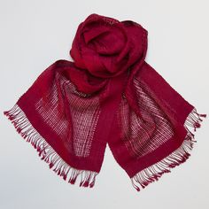 Riverbank Berry Red Organic Silk Scarf on Ethical Ocean ($150.95)