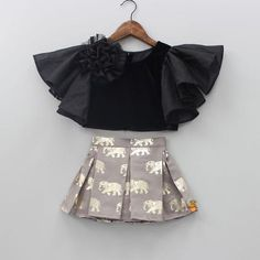 Pre Order: Black Top And Grey Skirt With Golden Elephant Print - kids wear - Kids Outfit Girls Frock Design, Baby Dress Design, Kids Dress Wear, Kids Gown, Baby Frocks Designs, Kids Frocks Design, Frocks For Girls, Little Girl Dresses, Baby Girl Skirts