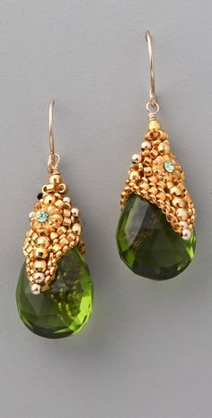 Miguel Ases Peridot Quartz Crystal Earring.  (Here's another example of this designer's fabulous beaded bead caps!  This sold for over $200.)