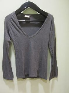 750 V-Neck Long Sleeve Top in Charcoal Gray Size Medium