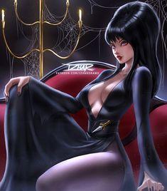 Elvira Mistress of the Dark by IzharDraws on DeviantArt Horror Artwork, Skull Artwork, Elvira Movies, October Art, Cassandra Peterson, Wolf, Fantasy Art Women, Dark Images, Queen