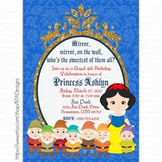 Customized Digital Printable Snow White Birthday Party Invitation by BTADesigns on Etsy https://www.etsy.com/listing/226507100/customized-digital-printable-snow-white