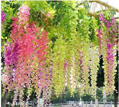 Silk Wisteria Leaf Hanging Flower Artificial Ivy Garland Vine Wedding Decoration #Unbranded
