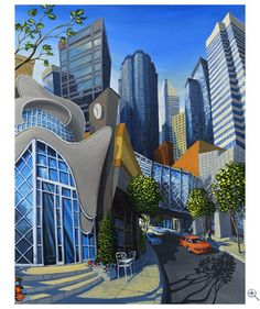 The art of whimsical paintings by Miguel Freitas Downtown Edmonton Karla Gerard, Cityscape Art, Principles Of Design, Famous Places, Art Graphique, Naive Art, Canadian Artists, Landscape Art, Altered Art
