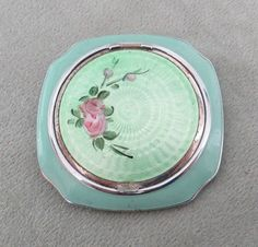 Vintage Marked Evans Double COMPACT - Green on Green Guilloche Enamel with Roses