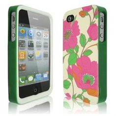 DrHotDeal - New Flowers Pattern 3-Piece Hard Shell Case Cover for Apple iPhone 4 4G 4S - Green & Pink - iPhone - Green/White Flowers Pattern - Smooth - Polycarbonate Plastic, ABS Plastic 1 of 2