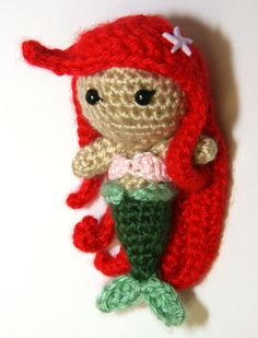 Somebody please make me one of these with blonde hair!! PATTERN Ariel Little Mermaid Princess Crochet Doll Amirugumi. $4.95, via Etsy.