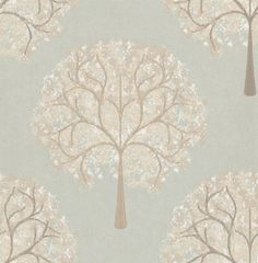 Impressions Eau De Nil (1944/574) - Prestigious Wallpapers - A beautiful and contemporary tree design in a painted effect. Showing in pale brown and white on duck egg green - other colour ways available. Please request a sample for true colour match. Paste-the-wall product.