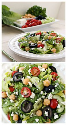 Chickpeas, olives, cucumbers, tomatoes, and feta are just a few of the flavors in this delicious and healthful Mediterranean Chopped Salad. | Culinary Hill