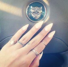 Almond shaped white nails