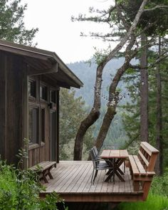 An off-grid cabin, perched atop 10 sloped acres of redwoods on the California coast. Designed, built and owned by partners Jeff Waldman and Molly Fiffer, and constructed over the course of one year,. Tree Deck, Plywood Walls, Off Grid Cabin, Off Grid House, Forest Cabin, Cabin In The Woods, Tiny House Movement, California Coast, Off The Grid