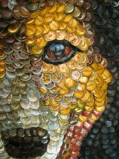 Molly Right  is a talented self taught painter who uses thousands of old bottle caps to create beautiful portraits.  She st...