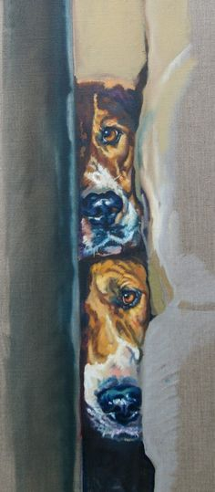 Dogs in Art at the StockBridge Gallery - The Keyhole by Debbie Harris, SOLD (http://www.dogsinart.com/the-keyhole-by-debbie-harris/)