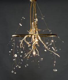 River Root Chandelier, genuine silver leaf, natural quartz and cut crystals