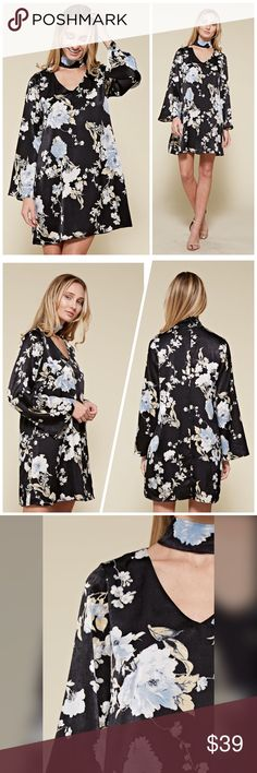 fe403cc23212 PREORDER Stunning Black/pale blue floral dress! FLORAL PRINTED LONG SLEEVE CHOKER  DRESS MADE IN USA Dresses