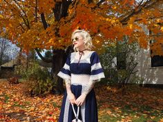 Prairie chic for a fall wedding in New Hampshire. See more on the blog! #bohodress #hippiedress #weddingstyle #fallwedding #edwardianboots #floralbag #americanflag #fallleaves #fallstyle #lacedress