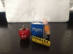Polymer Clay Charms Set of 4 School Supplies Teacher's Gift. $15.00, via Etsy.