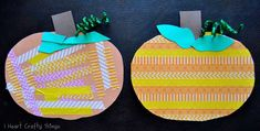 I HEART CRAFTY THINGS: Washi Tape Patterned Pumpkins - could make this into banner once each resident has stuck items on Fall Arts And Crafts, Easy Fall Crafts, Fall Crafts For Kids, Halloween Crafts For Kids, Toddler Crafts, Preschool Crafts, Art For Kids, Kids Crafts, Preschool Halloween