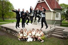 This is such a fun wedding party photo. Photo by Kim. #weddingphotographersMN #weddingparty