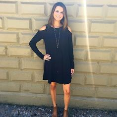 Cold shoulder A-line sweater dress from Rose's Corner! Paired with our signature tassel necklace by Donna Dressler Designs!