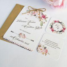 Invitatie de nunta Boho Chic - 4,5 Place Cards, Place Card Holders, Wedding Ideas, Weddings, Wedding, Marriage, Wedding Ceremony Ideas, Mariage