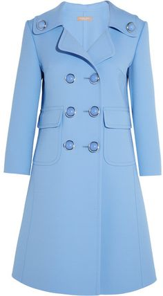 Michael Kors Collection - Double-breasted Wool-blend Gabardine Coat - Light blue