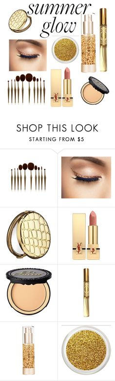 """""""Gold summer glow"""" by paigemadeline ❤ liked on Polyvore featuring beauty, Estée Lauder, Yves Saint Laurent, Too Faced Cosmetics, Angela Flanders and Material Girl"""
