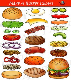 Build a Burger Clipart Hamburger Maker Bundle - Clipart 4 School Printable Activities For Kids, Worksheets For Kids, Sand Crafts, Paper Crafts, Hamburger Maker, Education Clipart, Today Is Monday, Food Clipart, Art Clipart
